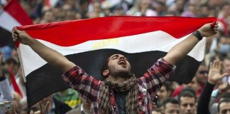 Egyptians gathered in Tahrir Square on February 10 2011