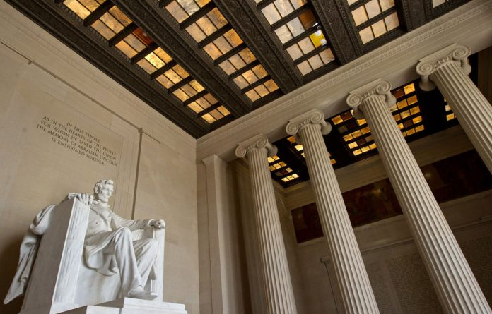 The statue of Abraham Lincoln is seen inside the Lincoln Memorial in Washington.