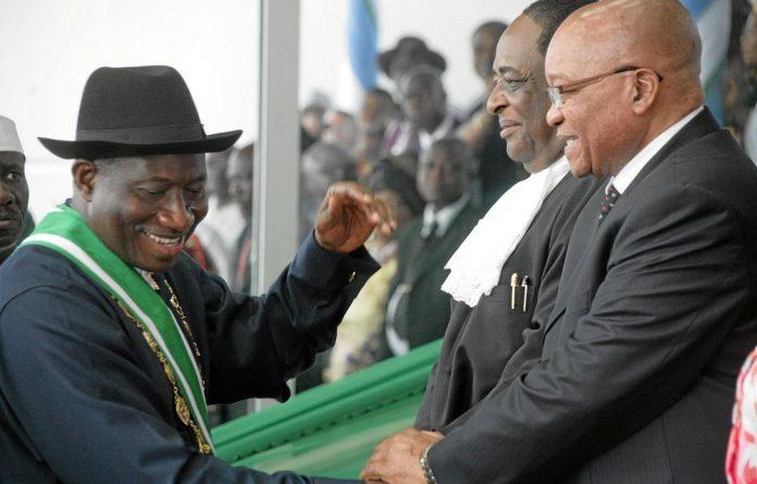 President Goodluck Jonathan and President Jacob Zuma.