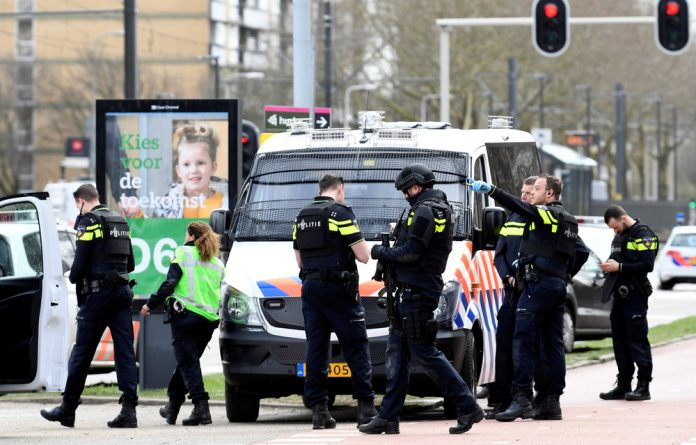 Police on the scene after the Utrecht shooting on Monday.
