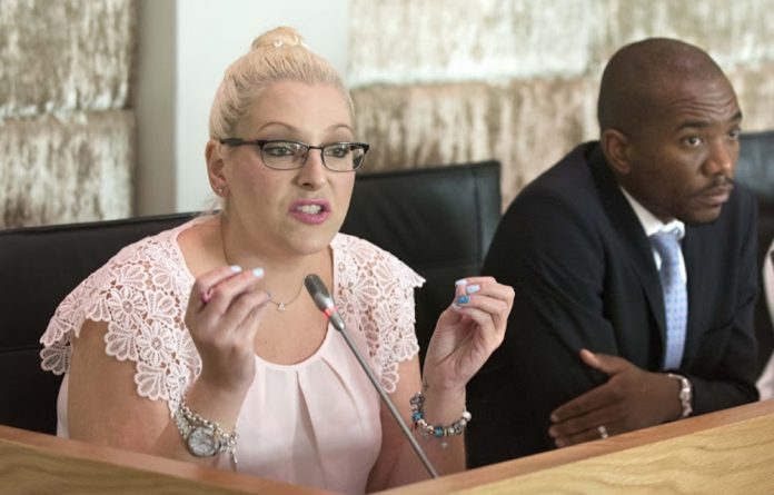 Natasha Mazzone with Democratic Alliance leader Mmusi Maimane.