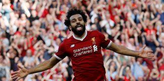 Mohamed Salah celbrates his 22nd goal of the season.