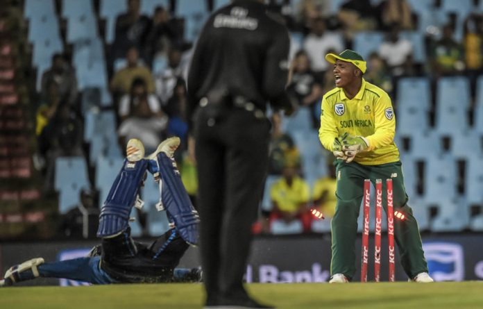 International debut: Sinethemba Qeshile made two catches during his first game as a Protea against Sri Lanka on March 22