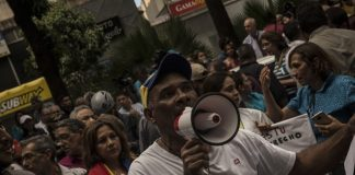 Demonstrations by Venezuelans angry about the blackouts broke out Sunday in Caracas.