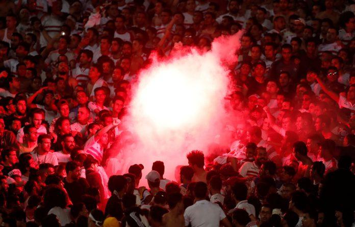 Zamalek fans with a flare.