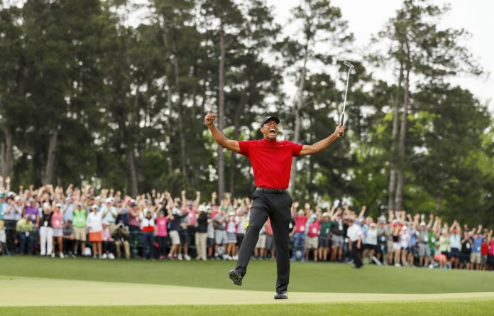 Roar: Tiger Woods made a comeback from nowhere to win the Masters at Augusta National Golf Club on Sunday. Photo: Kevin C. Cox/Getty Images/AFP