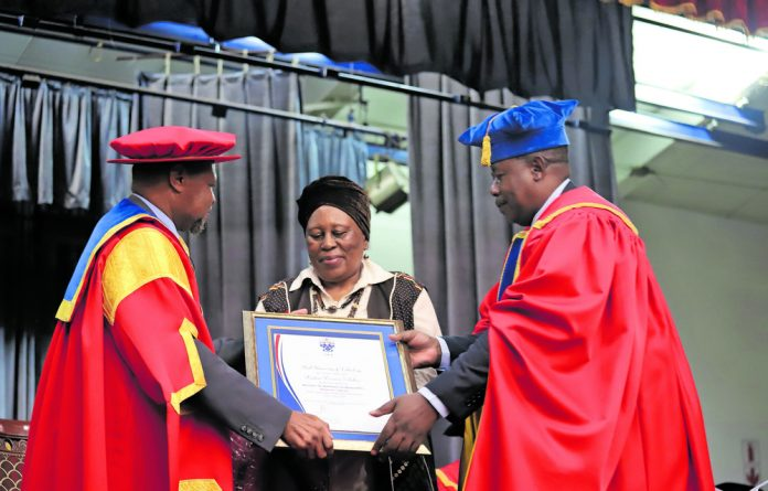 An honourary degree is conferred to Mama Zondeni Veronica Sobukwe for her role in the struggle