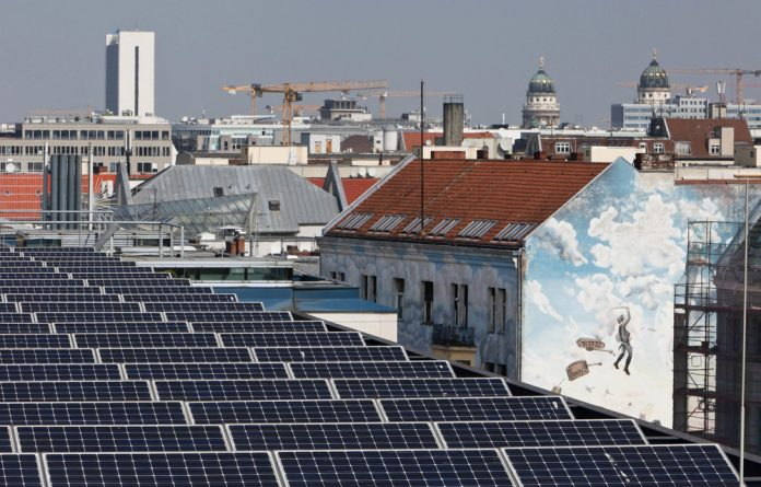 Sun-kissed: Solar panels on the roof of the Social Democratic Party headquarters in Berlin