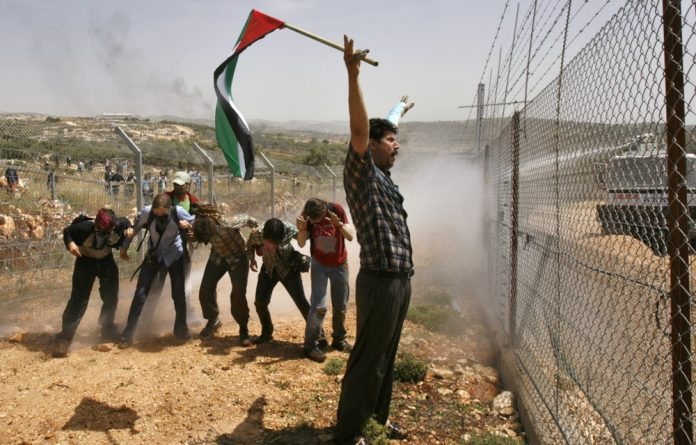 Palestinian and peace activist demonstrators are hosed by a water cannon during a protest against Israel's controversial barrier near the West Bank village of Bilin.