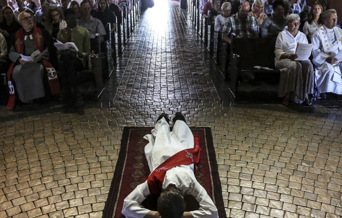 Lay me down: Dianne Willman became only the fourth South African woman to be ordained in the Catholic tradition.