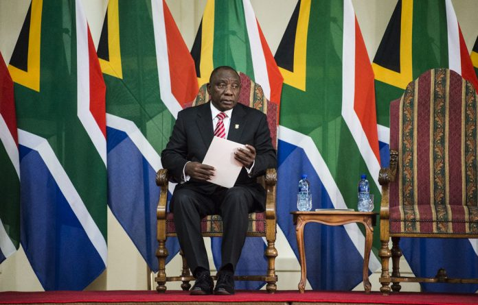 President Cyril Ramaphosa at the inauguration of Cabinet ministers in Pretoria on Thursday.