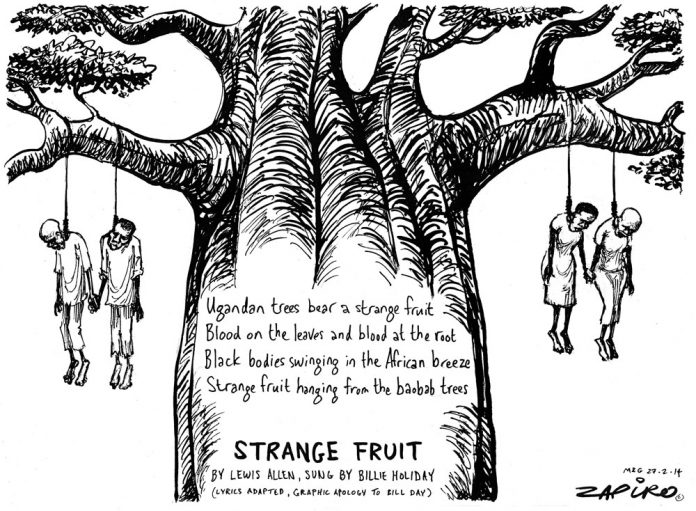 Zapiro: Anti-gay laws:Uganda's strange fruit