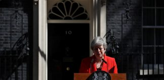 British Prime Minister Theresa May tearfully delivers a statement on her resignation.