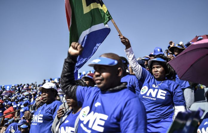 During the Democratic Alliance's Phetogo Rally at Dobsonville Stadium in Soweto on Saturday
