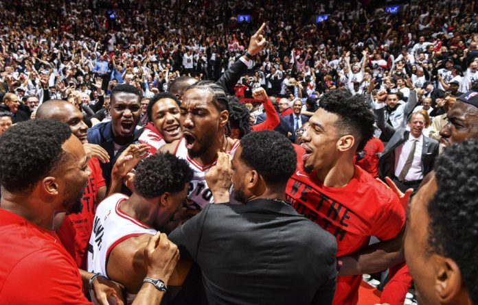 Kawhi Leonard celebrates after the Toronto Raptors defeated the Philadelphia 76ers in game seven of the Eastern Conference semifinals of the NBA playoffs. The team has had a standout season.