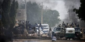 True colours: Sudanese forces deployed around Khartoum's army headquarters dispersed protesters. Photo: Ashraf Shazly/AFP