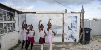 A group of ballerinas rehearse for a memorial for three young people in the Cape Flats.