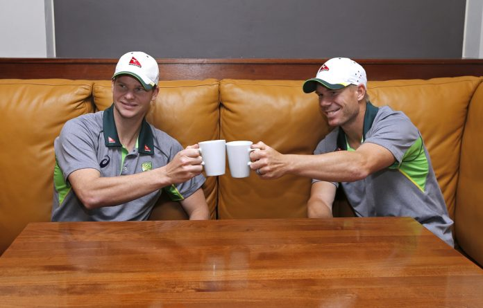 Steve Smith and David Warner of Australia pose a few years before their world was turned upside down by the Sandpapergate scandal.