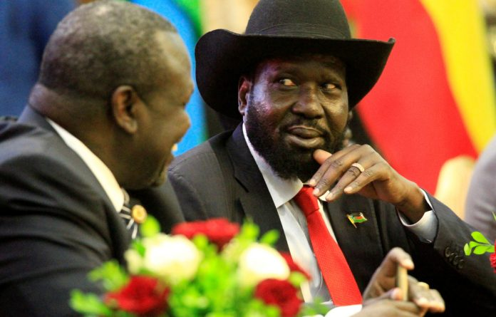 South Sudan president Salva Kiir and rebel leader Riek Machat