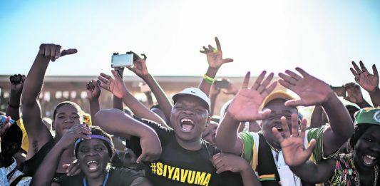 Supporters of Ramaphosa at a rally. In her recent report the public protector found that some of the money raised for his presidential campaign was paid to the Cyril Ramaphosa Foundation. She did not provide further details.