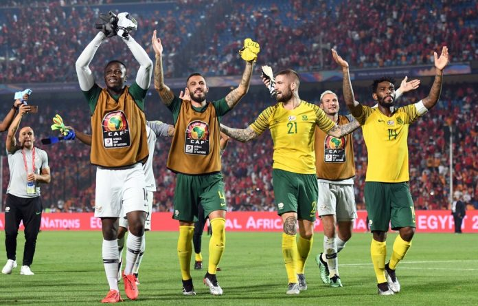 South African players celebrate after the African Cup of Nations
