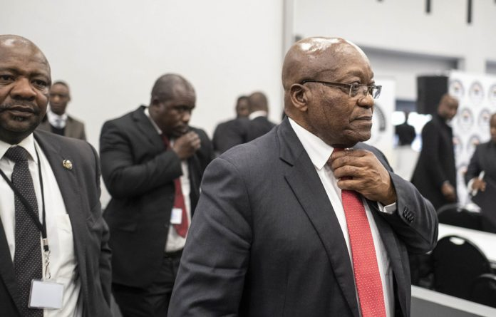 Former president Jacob Zuma leaving the commission of inquiry into state capture.