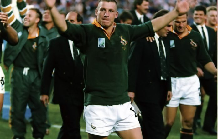 Springbok legend James Small celebrates winning the 1995 Rugby World Cup.