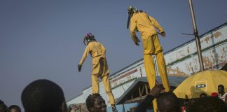 Artists perform during the Chale Wote street art festival in Accra