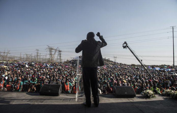 Amcu president Joseph Mathunjwa at the seven-year commemoration of the Marikana massacre last week. The union has characterised the wage increase tabled by Sibanye