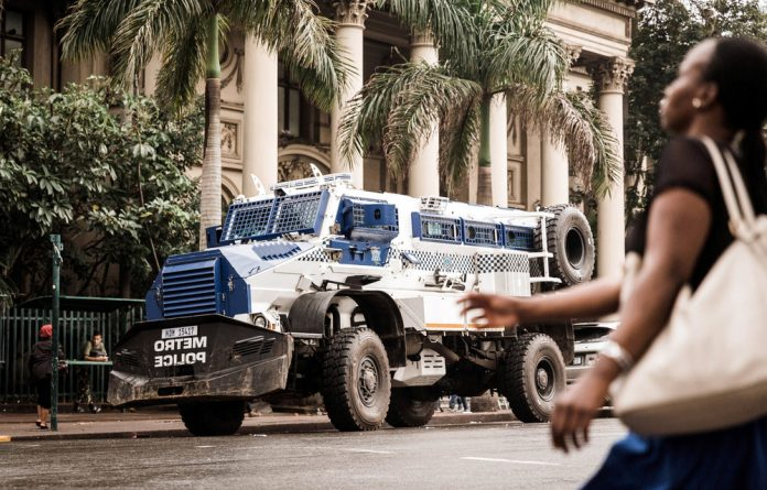Heavy duty: There was no sign of the metro police's Casspirs or Zandile Gumede's protesters in central Durban.