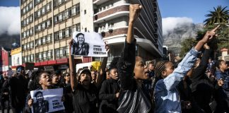 Enough! The murder of University of Cape Town student Uyinene Mrwetyana sparked protests outside Parliament and elsewhere in the city against gender-based violence.