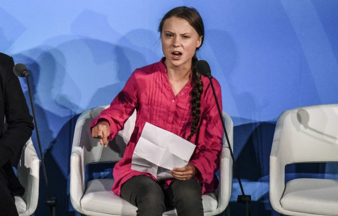 Truth to power: Greta Thunberg speaks out at the Climate Action Summit at the United Nations last month. She was mocked by the United States president