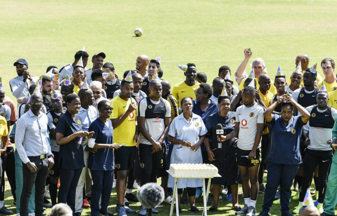 Happy birthday! Kaizer Chiefs players and staff celebrated their chairman and owner Kaizer Motaung's 75th birthday on Wednesday