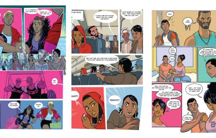 The personal is political: Scenes from the comic Meanwhile... depict what it means to be queer in Africa today.