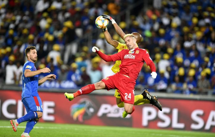 In action: SuperSport United striker Bradley Grobler has netted five goals in eight games in the PSL this season.