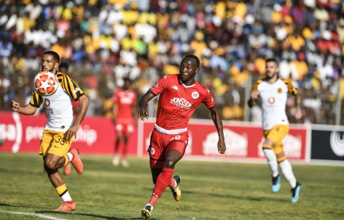 Golden boot: Peter Shalulile of Highlands Park during a league match against Kaizer Chiefs. He'll be hoping for more goals in the MTN8 final.