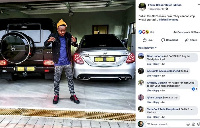Key to wealth: An FBK millionaire flaunts his expensive German wheels.