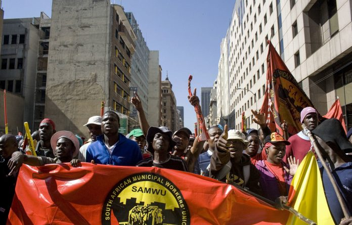 The union demanded the city transfer the money back to Samwu when its members protested outside the Johannesburg metro centre council chambers in a show of their frustration with the city.
