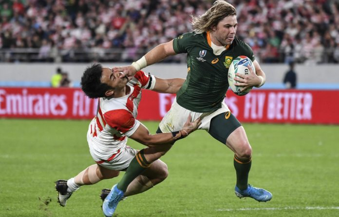 For kicks: South Africa's scrum-half Faf de Klerk has laughed off criticism of his box-kicking that annoys so many fans. He is sticking to the coach's plan.