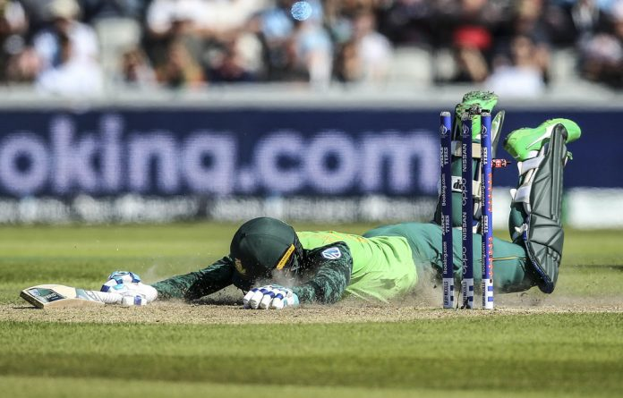 Down and out: Rassie van der Dussen is caught short. After the Proteas' dismal showing in the World Cup