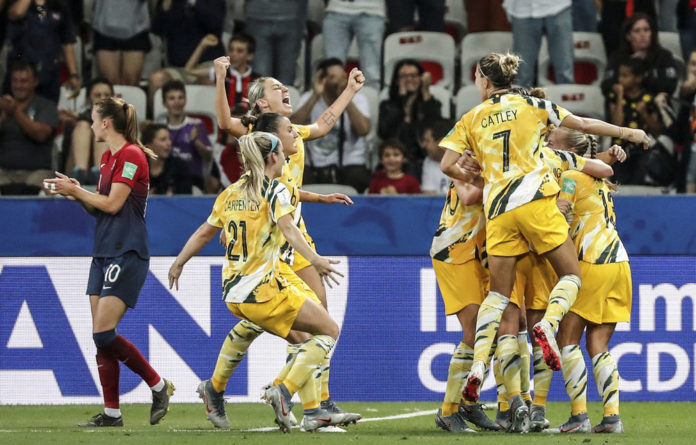 Celebrate good times: The Matildas after scoring in their round of 16 match vs Norway in the Women's World Cup.
