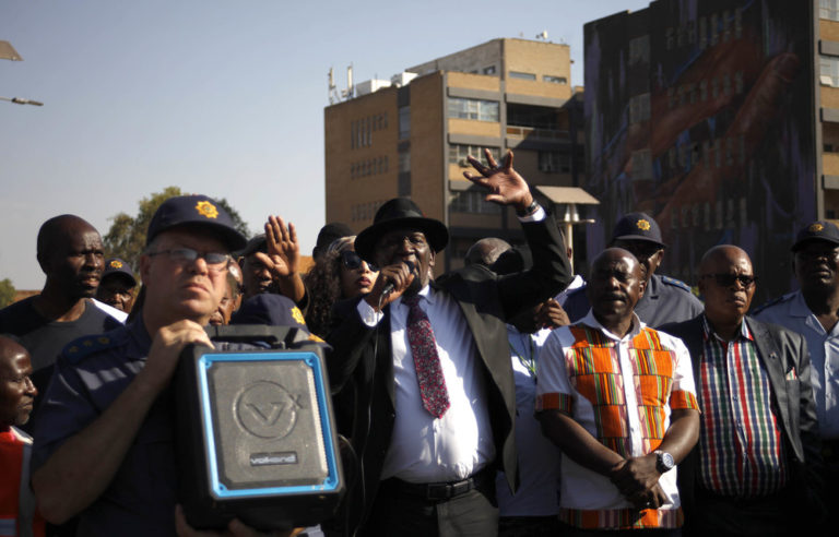 Police Minister Bheke Cele addresses Jeppestown