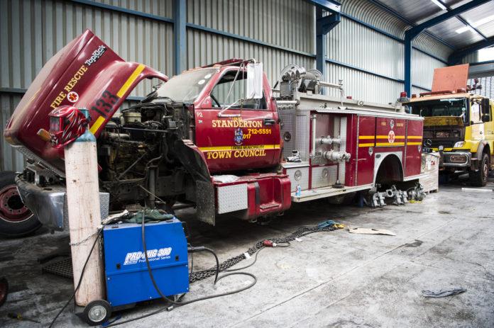 Broken fire truck