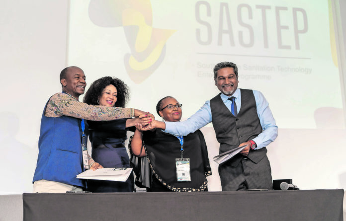 Dr Doulaye Kone from Bill and Melinda Gates Foundation; Minister Lindiwe Sisulu of Human Settlements