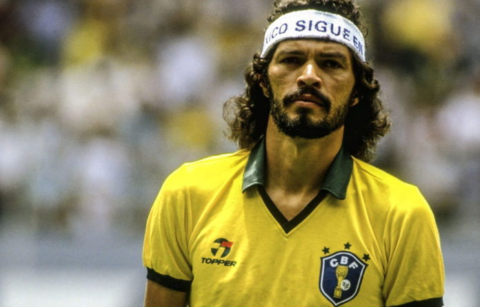 Iconic: Sócrates lines up before the World Cup match against Spain at the Jalisco Stadium in Guadalajara