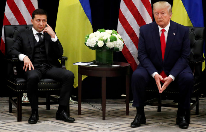 Ukraine's President Volodymyr Zelensky listens during a bilateral meeting with US President Donald Trump on the sidelines of the 74th session of the United Nations General Assembly in New York.