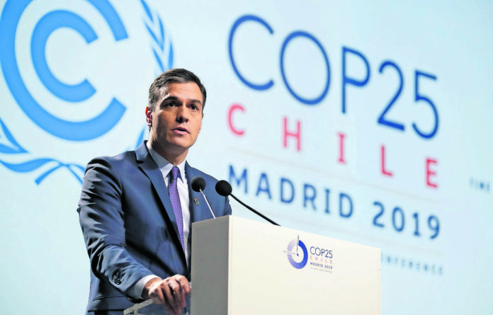 Spain's Prime Minister Pedro Sanchez speaks ay opening of the COP25 conference on December 2