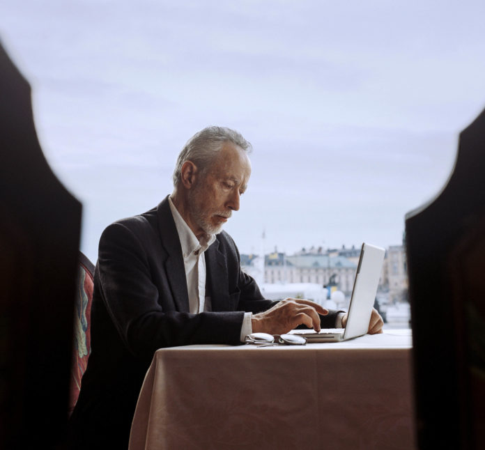 John Maxwell Coetzee, winner of the 2003 literature Nobel Prize, at the Stockholm Grand Hotel bar.