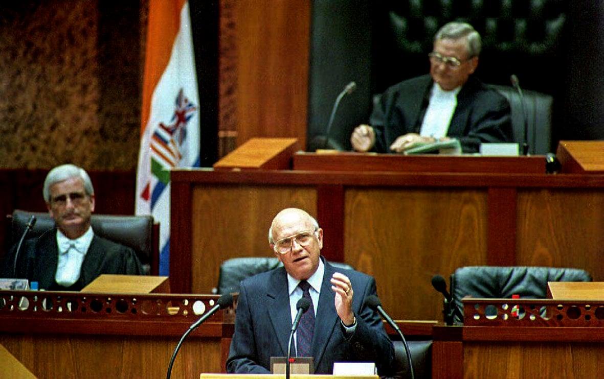 Then president FW de Klerk addresses the parliament in Cape Town 22 November 1993.