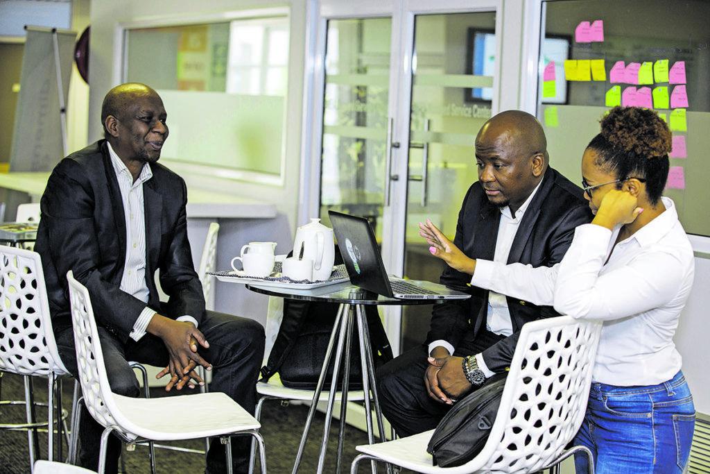Team collaboration: Manelisa Mavuso, chief marketing executive, Andy Dikobo, executive: public sector and Reoagile Mokoka, marketing manager. (Photo courtesy of Dimension Data)